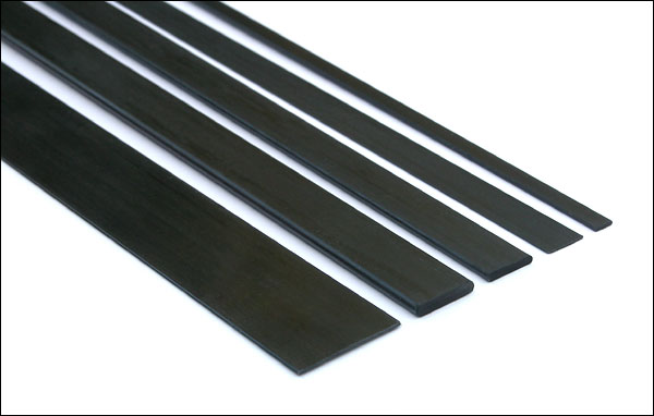Carbon fiber pultruded strip / bar - 6mm x 1mm x 1000mm